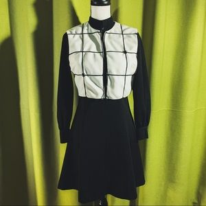 Vtg 60's B&W Space Age Dress